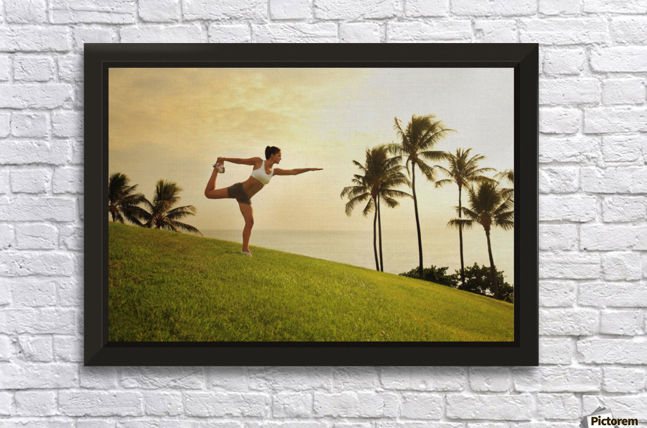 Hawaii, Oahu, Female Doing A Yoga Pose, Stretching On A Hill Overlooking Ocean, Palm Trees And Sunset. - PacificStock - Canvas Artwork