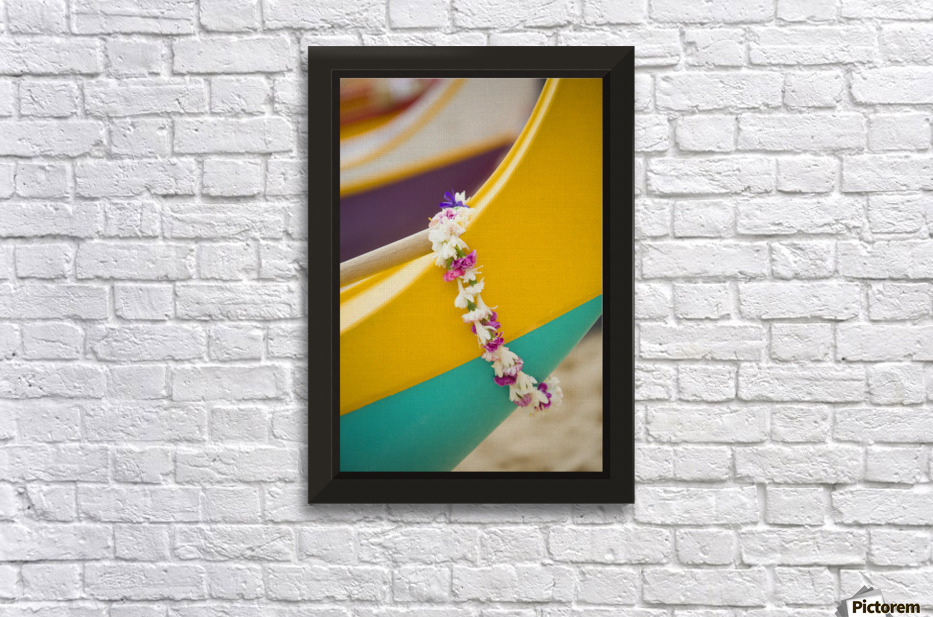 Hawaii, Oahu, Lei Draped Over Outrigger Canoe. - PacificStock - Canvas Artwork