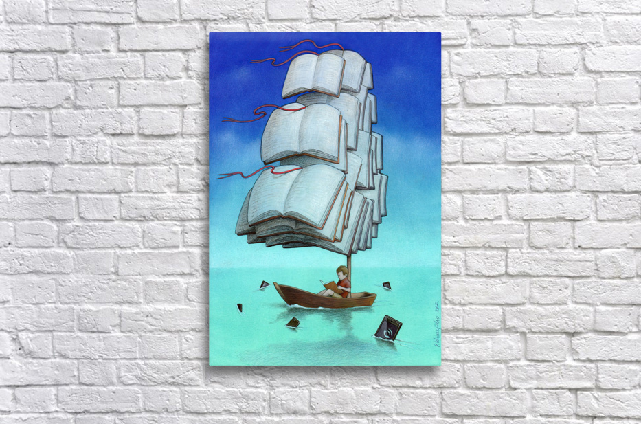 Journey with sharks Stretched Frame Print