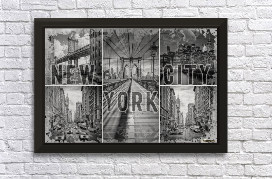 NEW YORK CITY Urban Collage No. 3 Stretched Frame Print