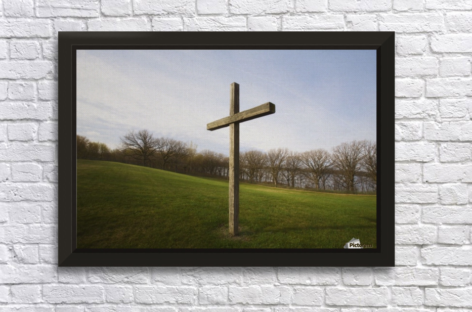 wooden cross stretched frame print - Wooden Cross Frame