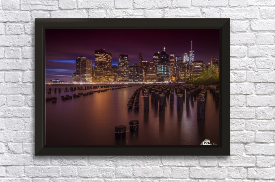 Manhattan Skyline at Sunset  Stretched Frame Print