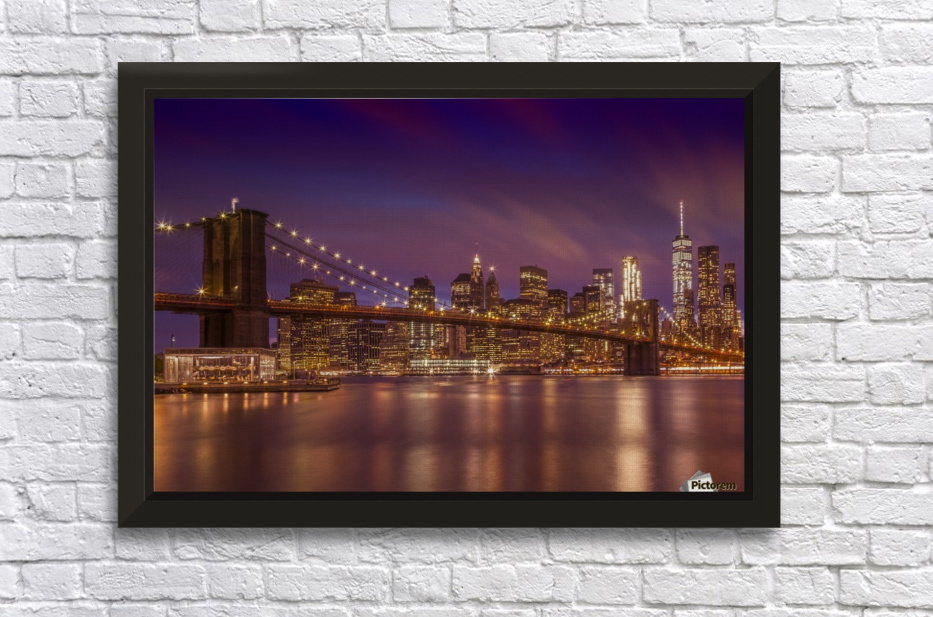 BROOKLYN BRIDGE Sunset  Stretched Frame Print