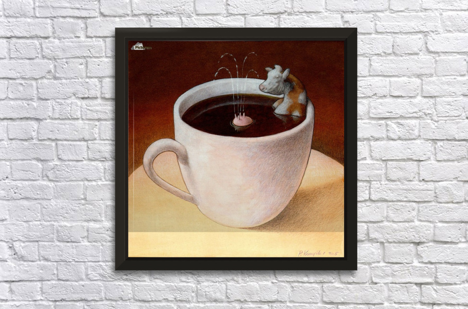 Coffee with milk Stretched Frame Print