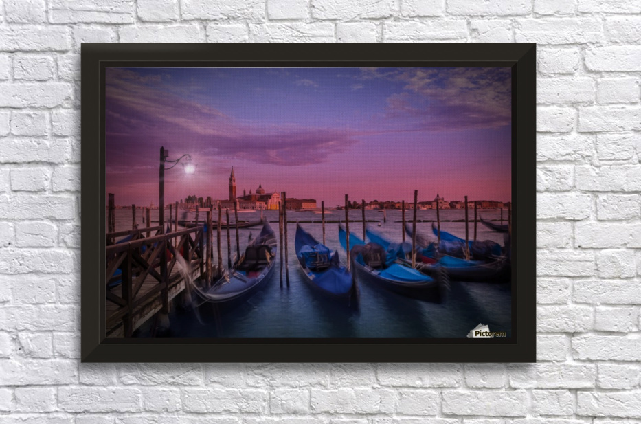 VENICE Gondolas at Sunset Stretched Frame Print
