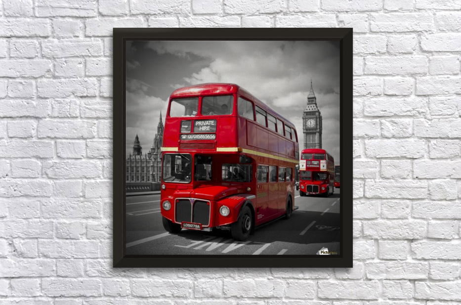 LONDON Red Buses on Westminster Bridge Stretched Frame Print