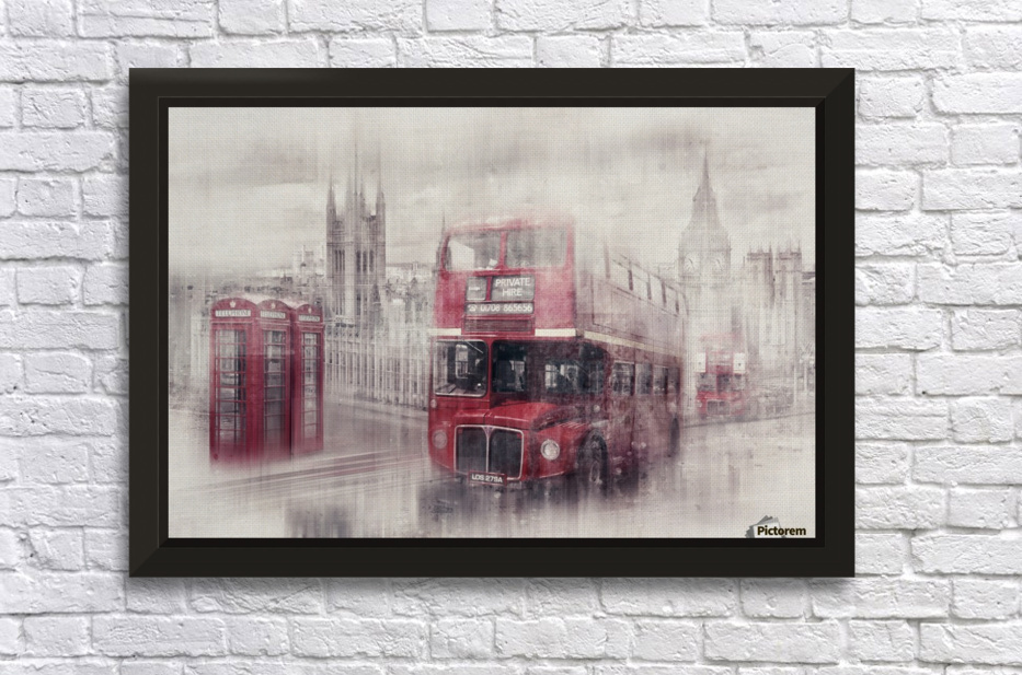 City-Art LONDON Westminster Collage II Stretched Frame Print