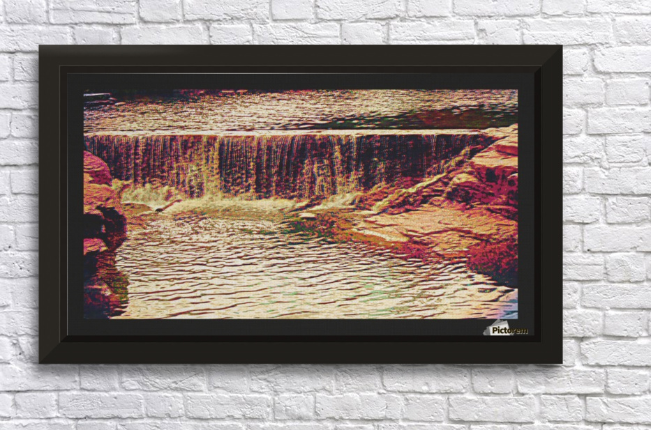 Medicine Park waterfall pic art Stretched Frame Print
