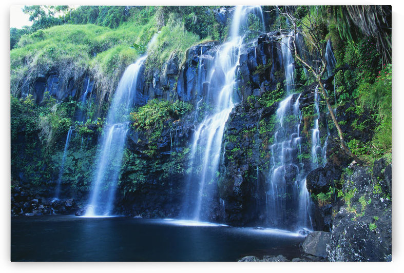 Hawaii, Maui, Hana Coast, Waterfall Flows Into Blue Pool. by PacificStock