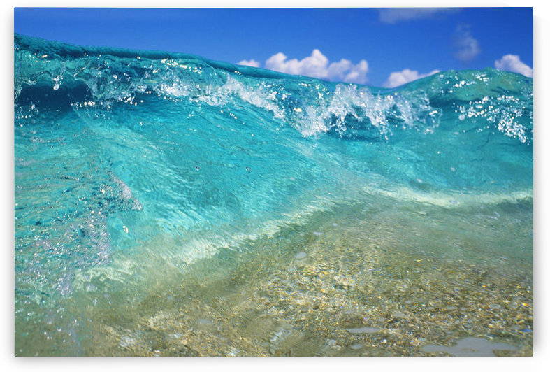 Hawaii, Ripple Of Crystal Clear And Turquoise Water Breaks On Sandy Shore. by PacificStock
