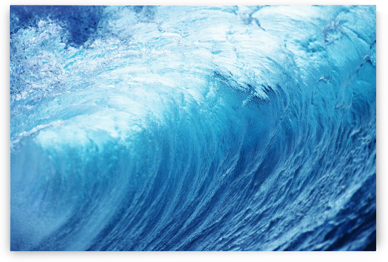 Inside Glassy, Blue Wave Curling Over, Closeup by PacificStock