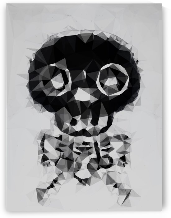 psychedelic skull and bone art geometric triangle abstract pattern in black and white by TimmyLA