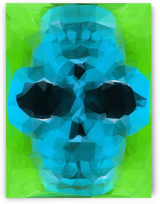 psychedelic skull art geometric triangle abstract pattern in blue and green by TimmyLA