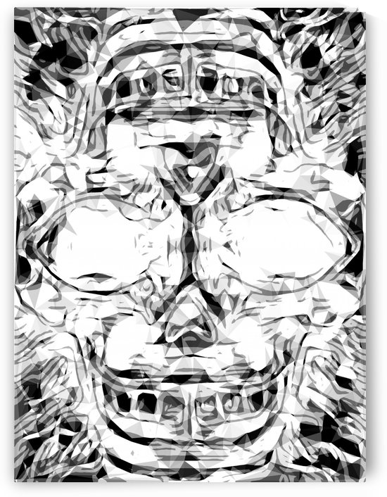 psychedelic skull art geometric triangle abstract pattern in black and white by TimmyLA