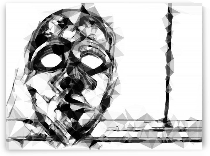 psychedelic geometric polygon pattern face portrait in black and white by TimmyLA