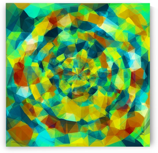 psychedelic geometric polygon pattern abstract in blue yellow green brown by TimmyLA