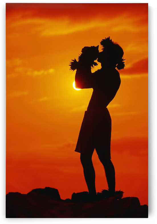 Hawaii, Maui, Napili, Silhouette Of Man Blowing Conch Shell At Sunset, Fiery Orange Sky. by PacificStock