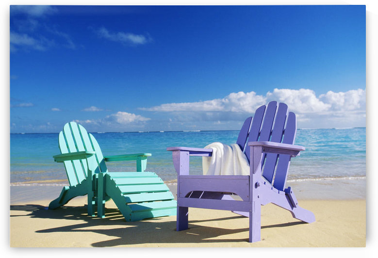 Colorful Beach Chairs On Beach, Calm Waves Washing Ashore Turquoise Water by PacificStock