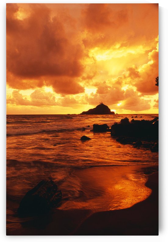Hawaii, Maui, Hana, Gorgeous Orange And Yellow Sunrise Over The Ocean by PacificStock