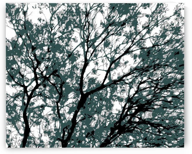 tree branch with green leaves abstract background by TimmyLA