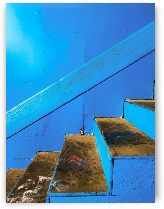 blue and brown old wood stairs with blue wall background by TimmyLA
