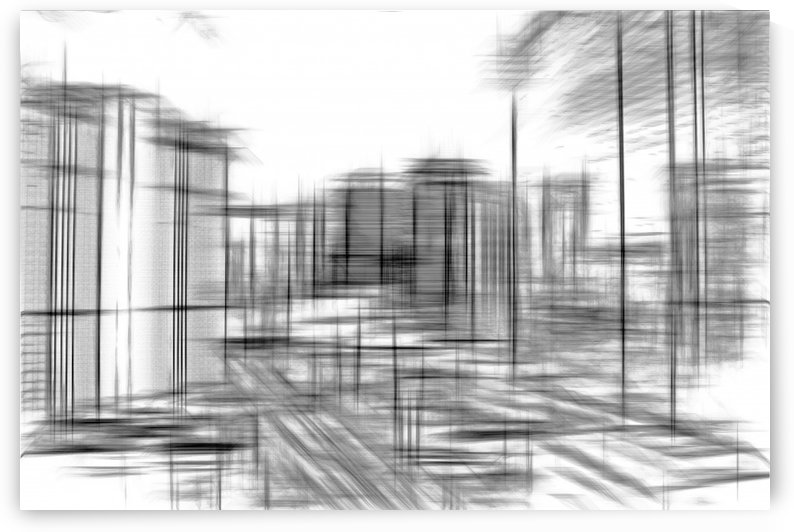 pencil drawing buildings in the city in black and white  by TimmyLA