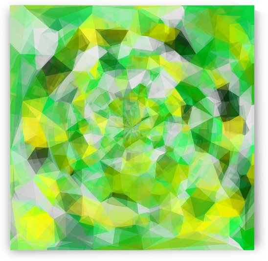 geometric polygon abstract pattern in green and yellow by TimmyLA