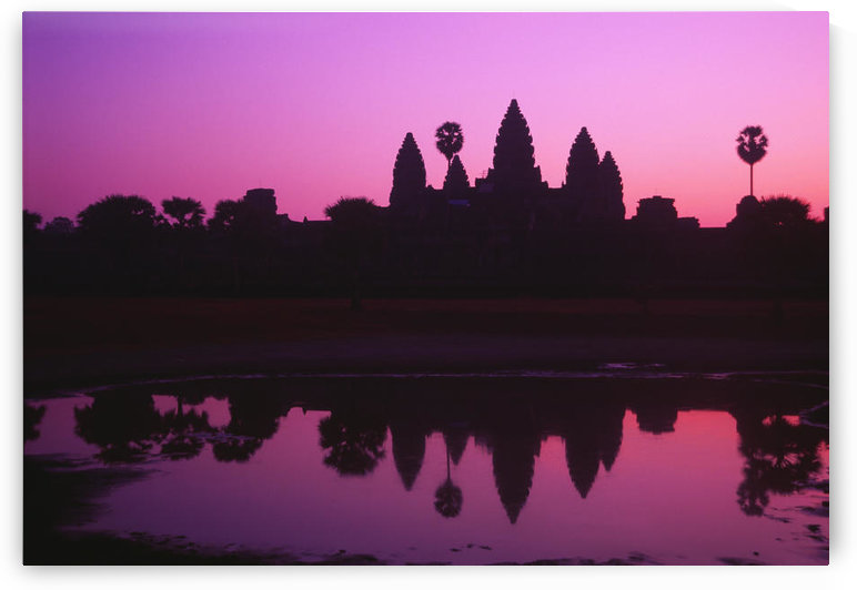 Cambodia, Angkor Wat, Silhouette Of Temple At Sunrise. by PacificStock