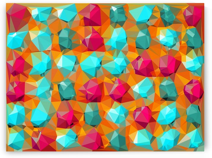 geometric polygon abstract pattern in orange pink green by TimmyLA