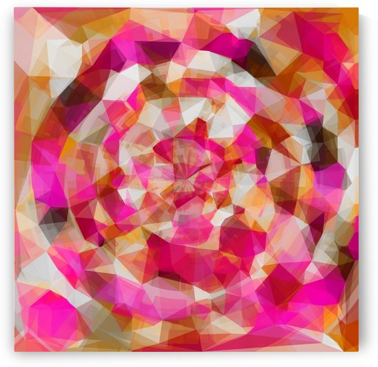 geometric polygon abstract pattern in pink orange brown by TimmyLA