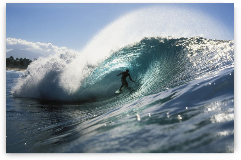 Hawaii, Oahu, North Shore, Shadow Of Surfer In Pipeline Wave by PacificStock