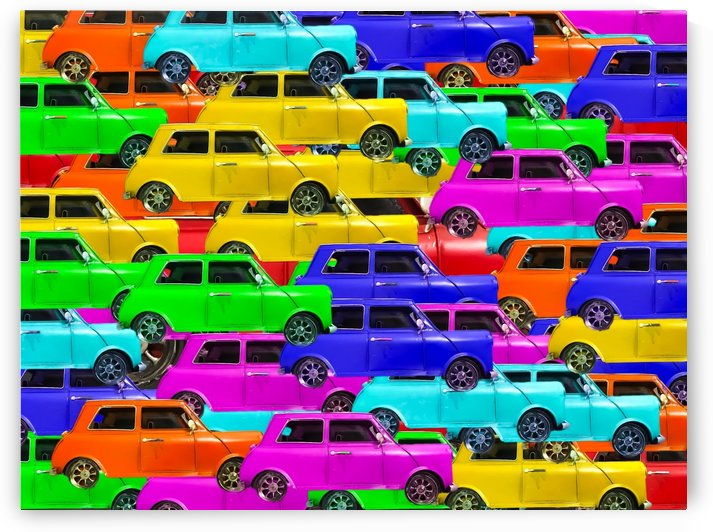 vintage car toy background in yellow blue pink green orange by TimmyLA