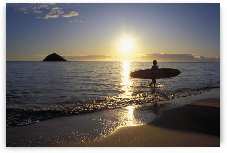 Hawaii, Silhouetted Surfer On Shore At Sunrise, Gold Light, Island Background by PacificStock