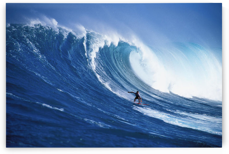 Hawaii, Maui, Peahi, Buzzy Kerbox Surfing Big Wave Curling And Crashing Behind by PacificStock
