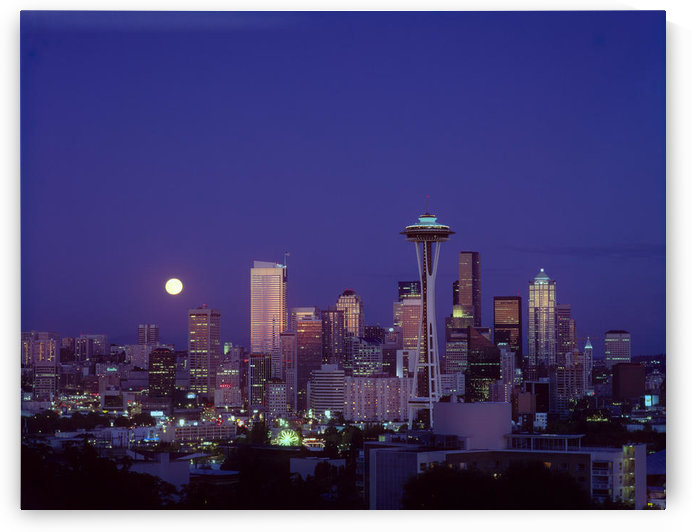 Washington, Seattle, Downtown Skyline With Moonrise Twilight Overview A50E by PacificStock