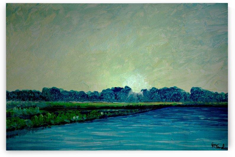 pond and sky by Pracha Yindee