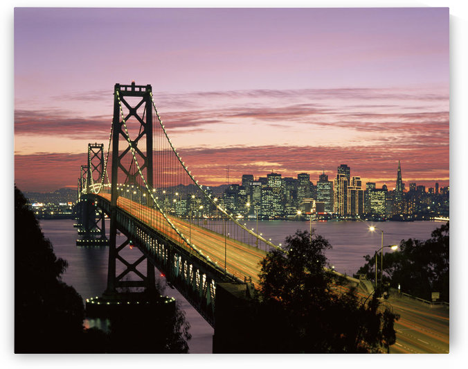 California, San Francisco, Sunset On Bay And Skyline, Blur Traffic Illuminated A50C by PacificStock