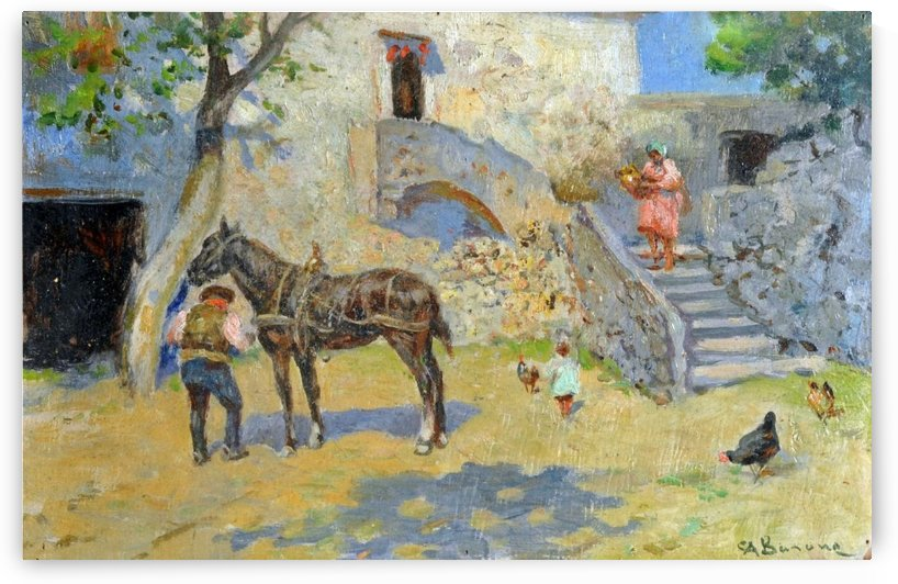Family in a Mediterranean garden outside city by Carlo Brancaccio