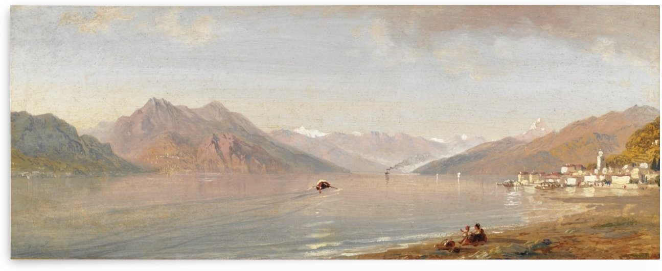 Lake view with mountains in the back by Carlo Brancaccio