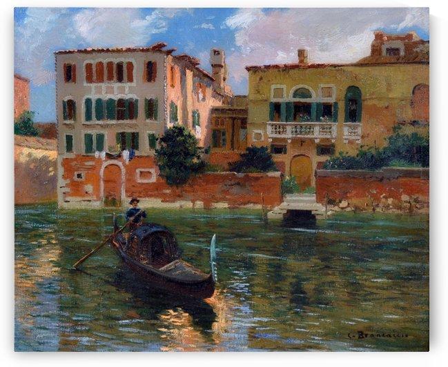 A gondola traveling along a canal in Venice by Carlo Brancaccio