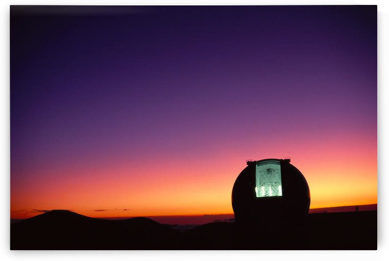 Hawaii, Big Island, Mauna Kea, Keck Observatory Open Dome, Twilight, Dramatic Sky A44E by PacificStock