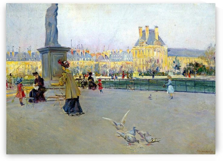 City view with figures and birds in Paris by Carlo Brancaccio