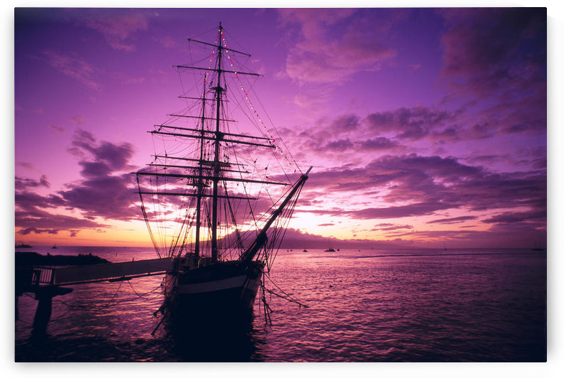 Hawaii, Maui, Lahaina Harbor, Carthaginian Tall Ship At Sunset, Silhouetted Pink And Yellow Sky A46A by PacificStock