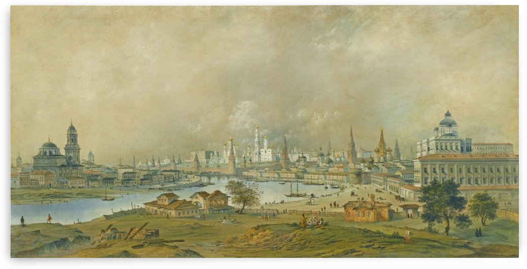 View of the Moscow Kremlin from the Ustinsky Bridge by Carlo Bossoli