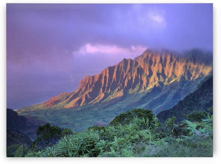 Hawaii, Kauai, Na Pali Coast, Kalalau Valley, Ka'a'alahina Ridge, Purple Sky A41F by PacificStock