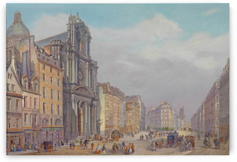 View of Rue Saint-Antoine, Paris by Carlo Bossoli