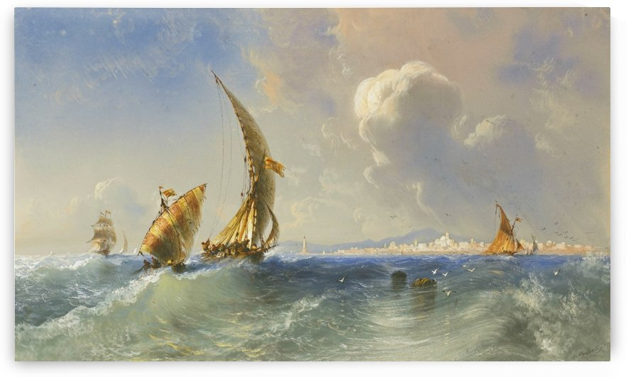 High seas near Alicante by Carlo Bossoli