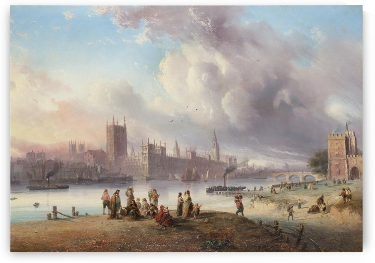 A view of Westminster Palace from Lambeth by Carlo Bossoli