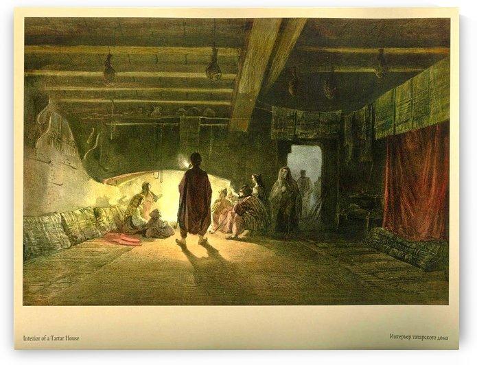 Interior of a Tartar house by Carlo Bossoli