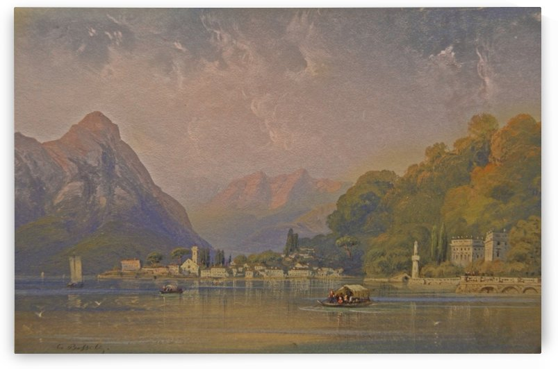 Landscape with figures in several boats along a lake by Carlo Bossoli